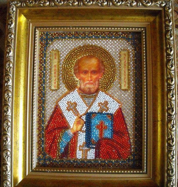 Икона Святой Николай вышитая бисером фото купить в Киеве.
