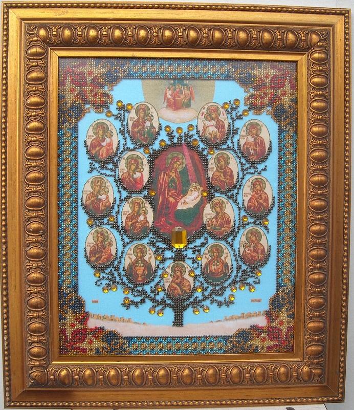 икона из бисера Древо пресвятой Богородицы, ікона вишита бісером Дерево Пресвятої Богородиці
