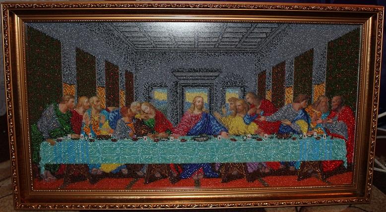 Икона Тайная Вечеря вишита бісером фото, ціни, купить в киеве икону Тайная Вечеря из бисера в Киеве