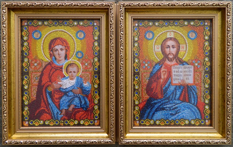 Прямі ціни без посередників. венчальные иконы из бисера фото, продажа икон из бисера...  Свадебные иконы для... пара.